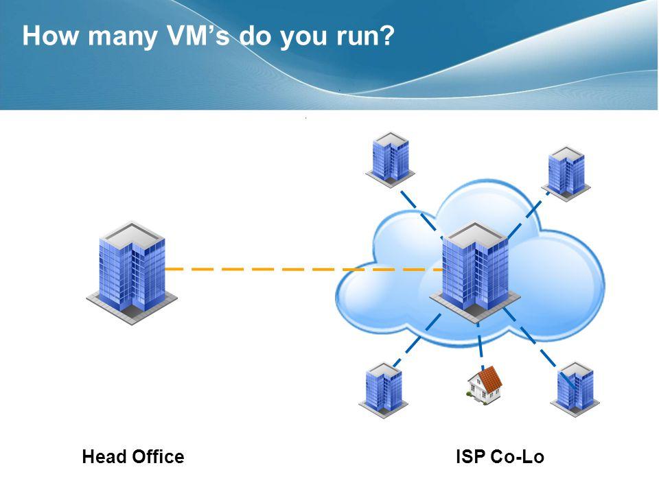 How many VMs do you run Head OfficeISP Co-Lo