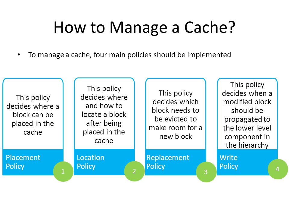 Cache Management 10 Cache Management Policies Placement Policy Location Policy Replacement PolicyWrite Policy