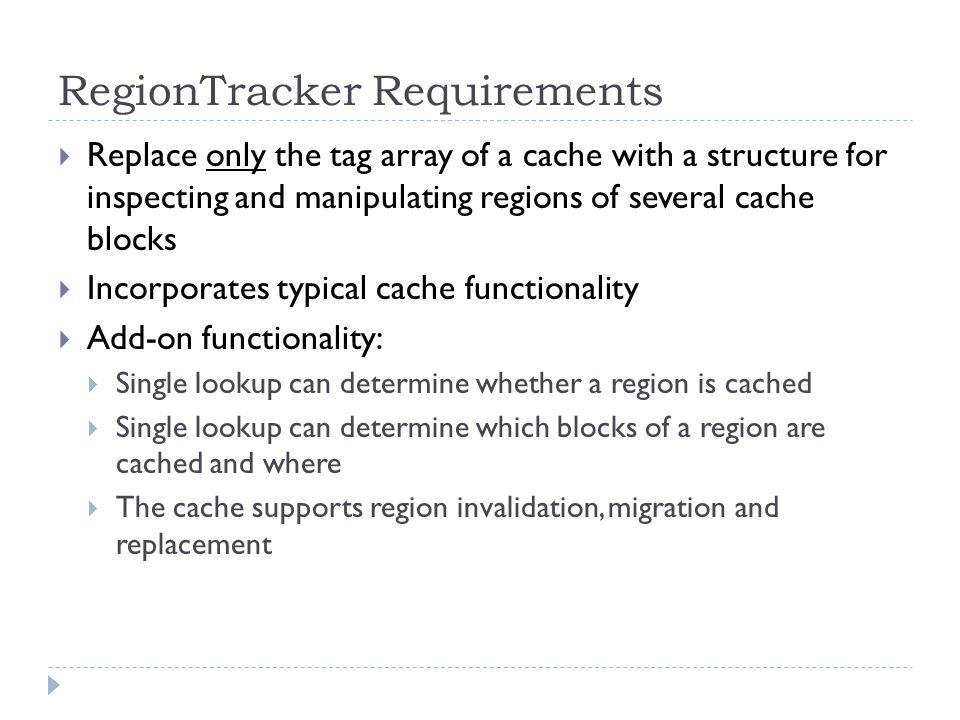 RegionTracker Structure Assumption: 8MB, 16-way associative L2 cache, 64 byte blocks, 50-bit physical addresses and 1KB regions Region Vector Array (RVA) Evicted Region Buffer (ERB) Block Status Table (BST)