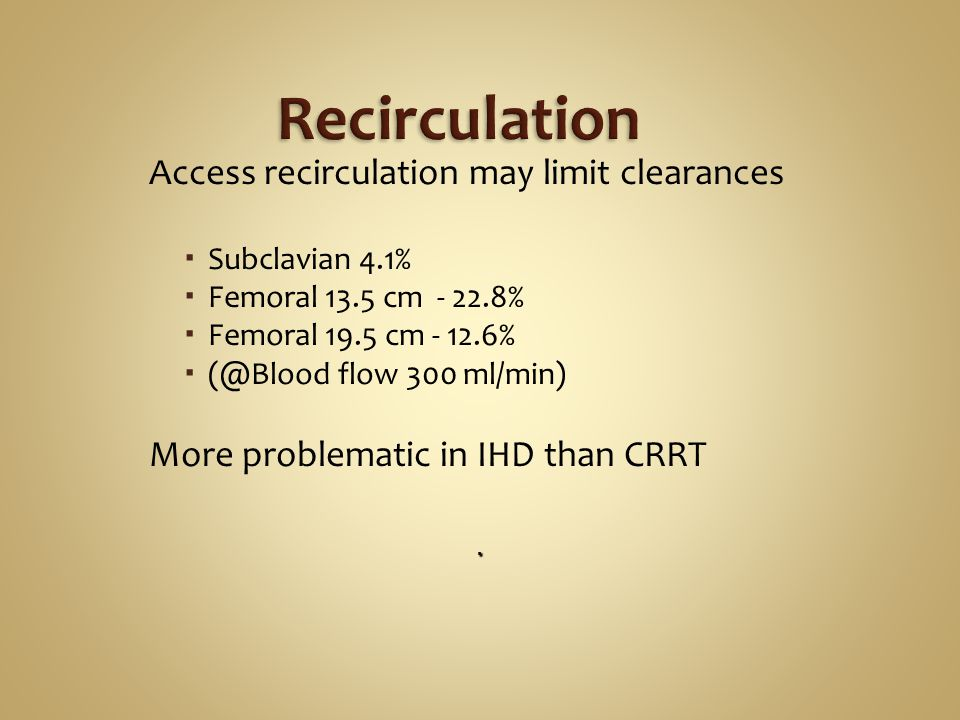 Access recirculation may limit clearances Subclavian 4.1% Femoral 13.5 cm - 22.8% Femoral 19.5 cm - 12.6% (@Blood flow 300 ml/min) More problematic in