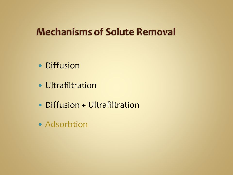 Diffusion Ultrafiltration Diffusion + Ultrafiltration Adsorbtion