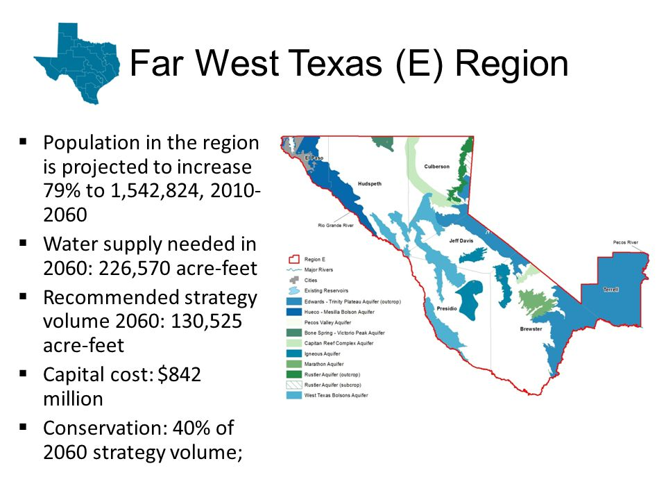 Far West Texas (E) Region Population in the region is projected to increase 79% to 1,542,824, 2010- 2060 Water supply needed in 2060: 226,570 acre-feet Recommended strategy volume 2060: 130,525 acre-feet Capital cost: $842 million Conservation: 40% of 2060 strategy volume;