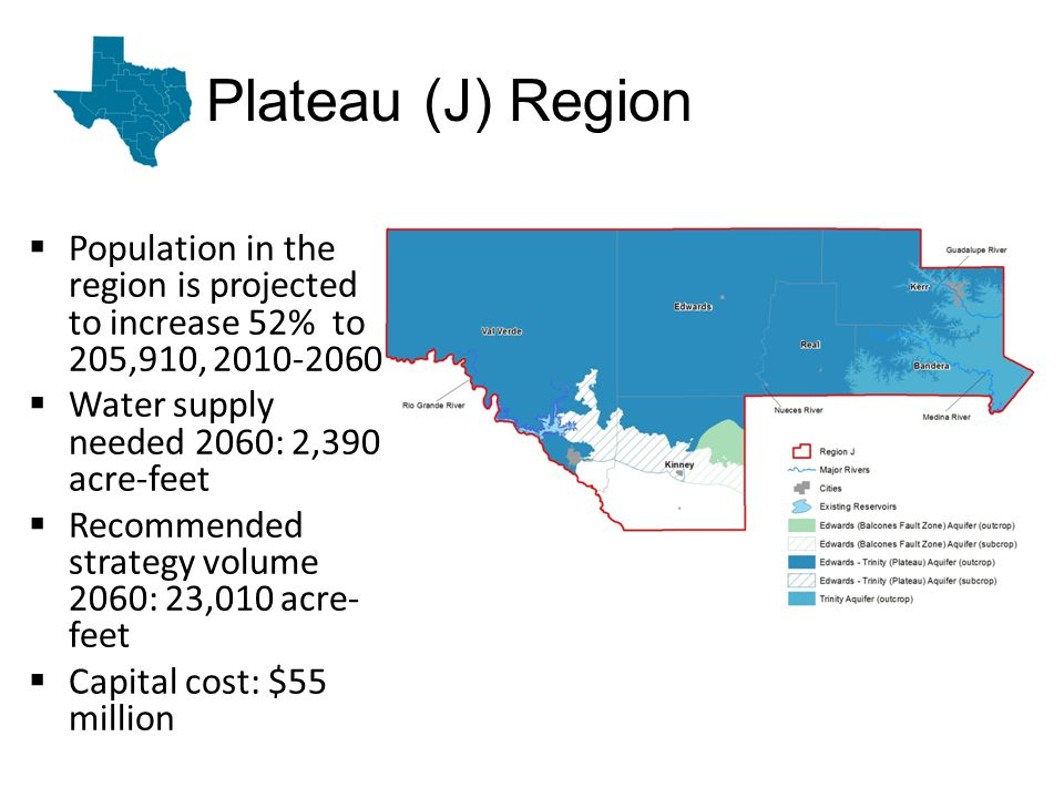 Plateau (J) Region Population in the region is projected to increase 52% to 205,910, 2010-2060 Water supply needed 2060: 2,390 acre-feet Recommended strategy volume 2060: 23,010 acre- feet Capital cost: $55 million