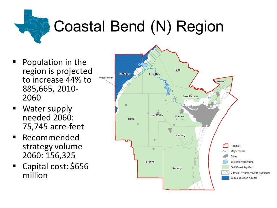 Coastal Bend (N) Region Population in the region is projected to increase 44% to 885,665, 2010- 2060 Water supply needed 2060: 75,745 acre-feet Recommended strategy volume 2060: 156,325 Capital cost: $656 million