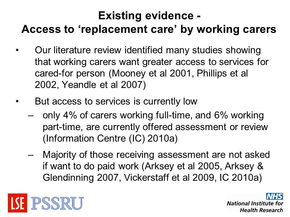 Existing evidence - Access to replacement care by working carers Our literature review identified many studies showing that working carers want greater access to services for cared-for person (Mooney et al 2001, Phillips et al 2002, Yeandle et al 2007) But access to services is currently low –only 4% of carers working full-time, and 6% working part-time, are currently offered assessment or review (Information Centre (IC) 2010a) –Majority of those receiving assessment are not asked if want to do paid work (Arksey et al 2005, Arksey & Glendinning 2007, Vickerstaff et al 2009, IC 2010a)