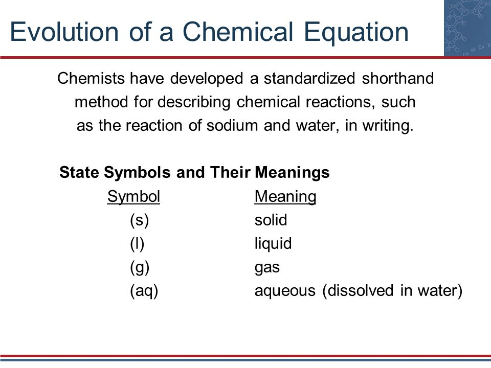 Evolution of a Chemical Equation Chemists have developed a standardized shorthand method for describing chemical reactions, such as the reaction of so