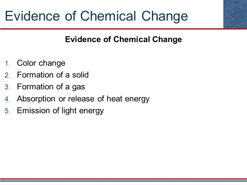 Evidence of Chemical Change Color change