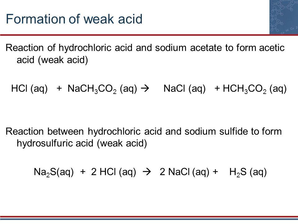 Formation of weak acid Reaction of hydrochloric acid and sodium acetate to form acetic acid (weak acid) HCl (aq) + NaCH 3 CO 2 (aq) NaCl (aq) + HCH 3