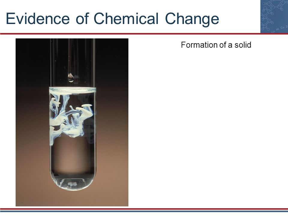 Evidence of Chemical Change Formation of a gas