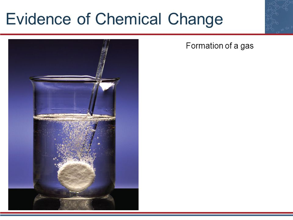 Evidence of Chemical Change Evolution of heat and light
