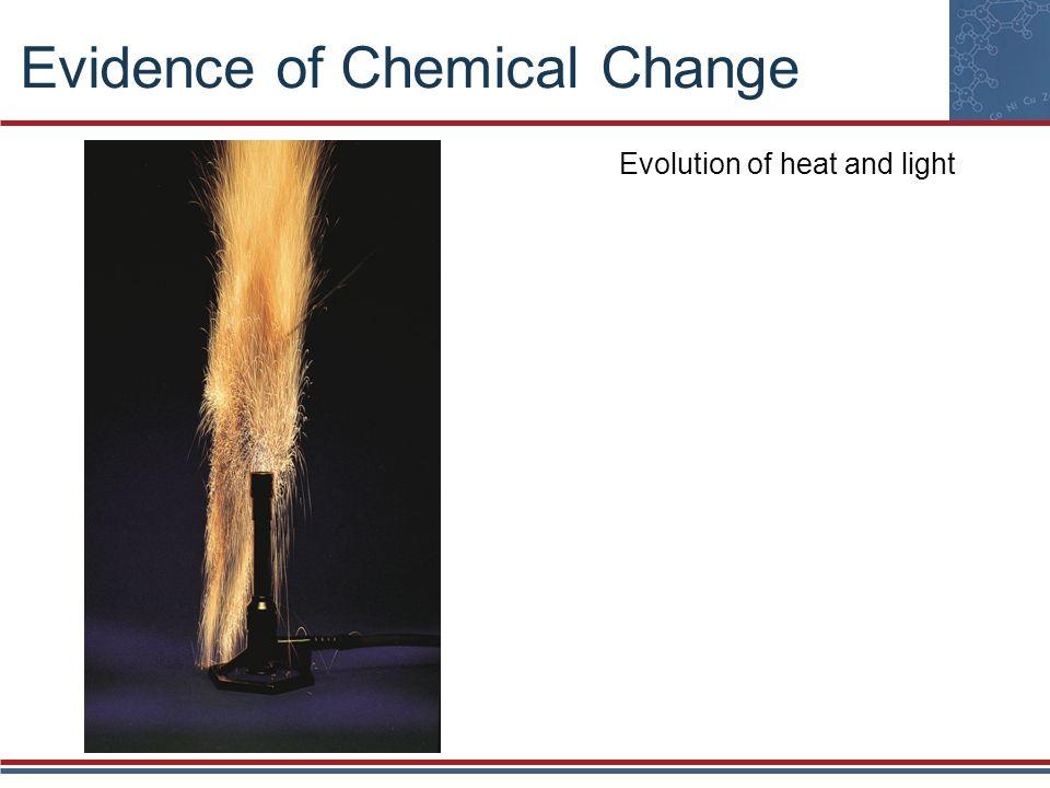 Evidence of Chemical Change Emission of light