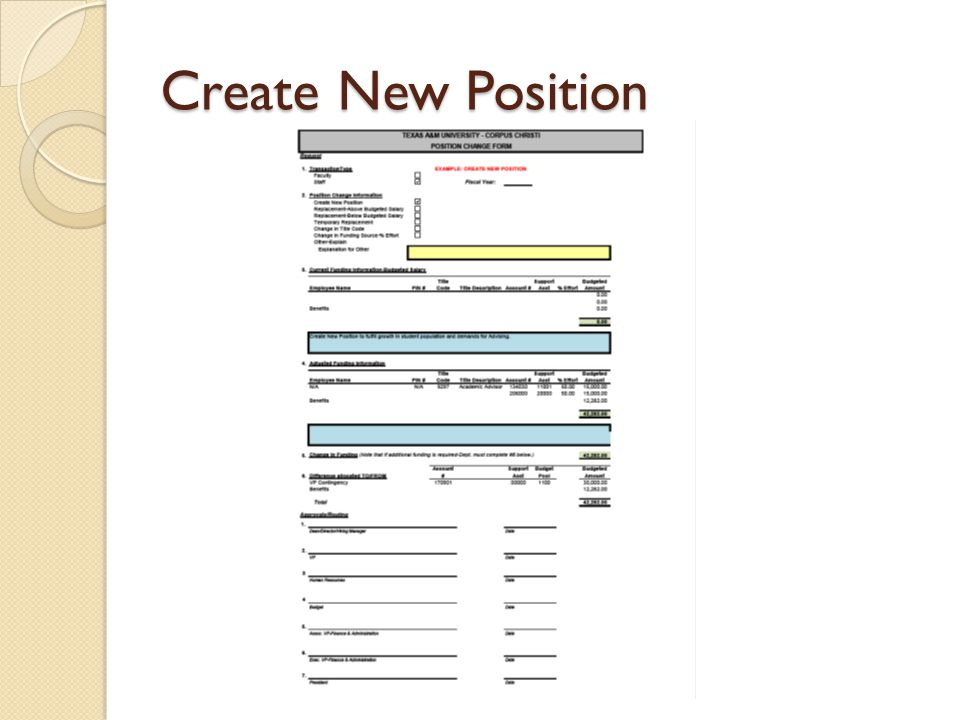Create New Position