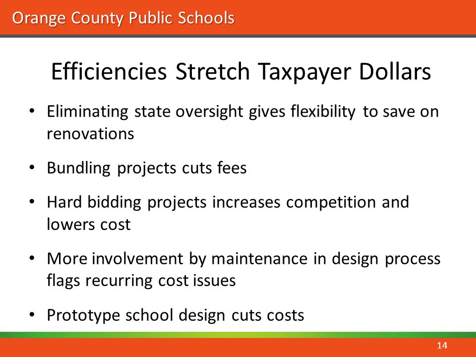 Orange County Public Schools Efficiencies Stretch Taxpayer Dollars Eliminating state oversight gives flexibility to save on renovations Bundling proje