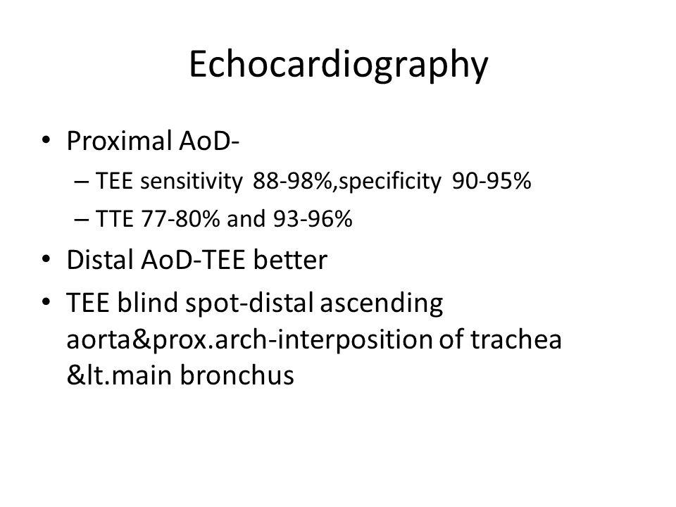 Echocardiography Proximal AoD- – TEE sensitivity 88-98%,specificity 90-95% – TTE 77-80% and 93-96% Distal AoD-TEE better TEE blind spot-distal ascendi