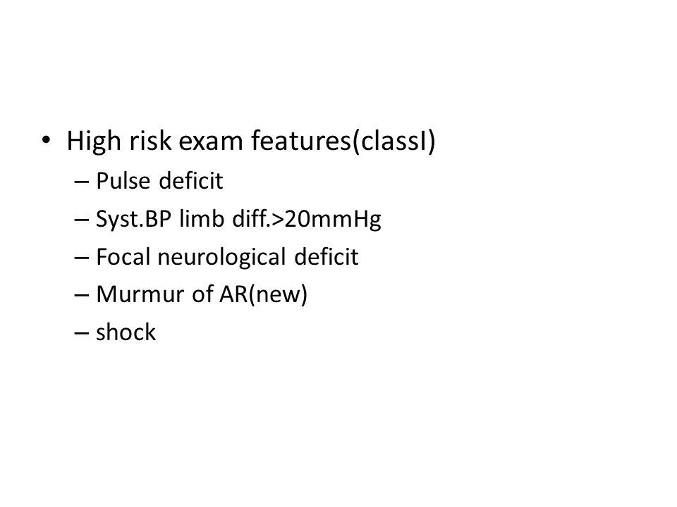High risk exam features(classI) – Pulse deficit – Syst.BP limb diff.>20mmHg – Focal neurological deficit – Murmur of AR(new) – shock