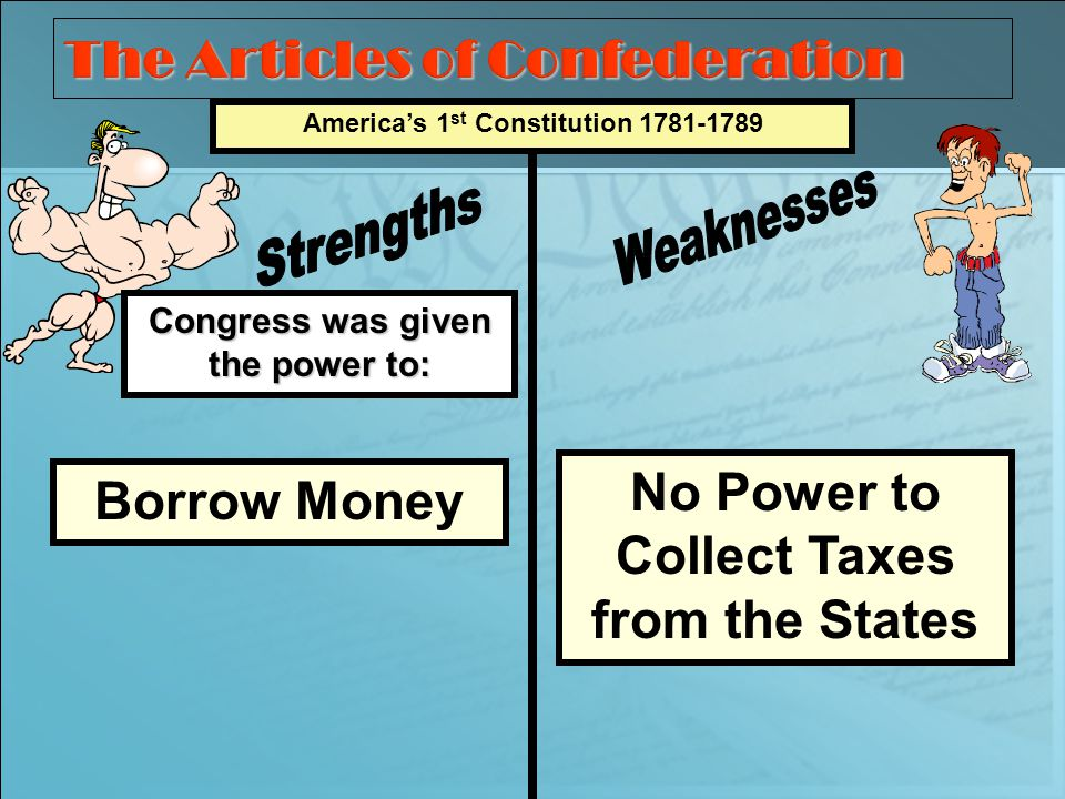 Congress was given the power to: Americas 1 st Constitution 1781-1789 Borrow Money No Power to Collect Taxes from the States