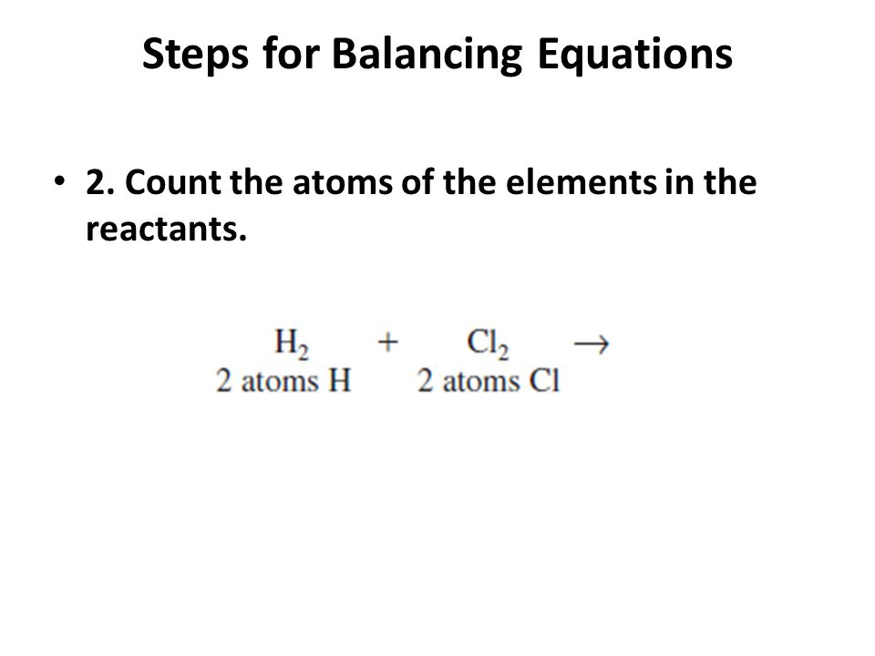 Steps for Balancing Equations 3. Count the elements in the products.