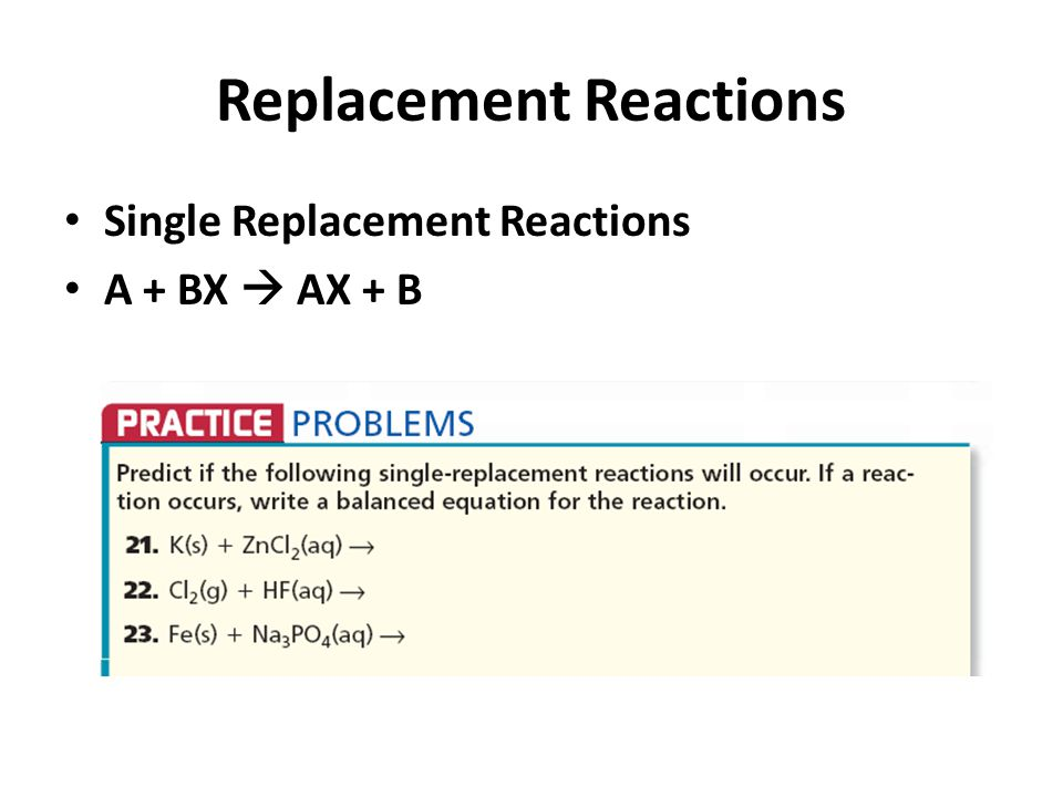 You can use the Activity Series Chart to predict if a single replacement reaction will occur.