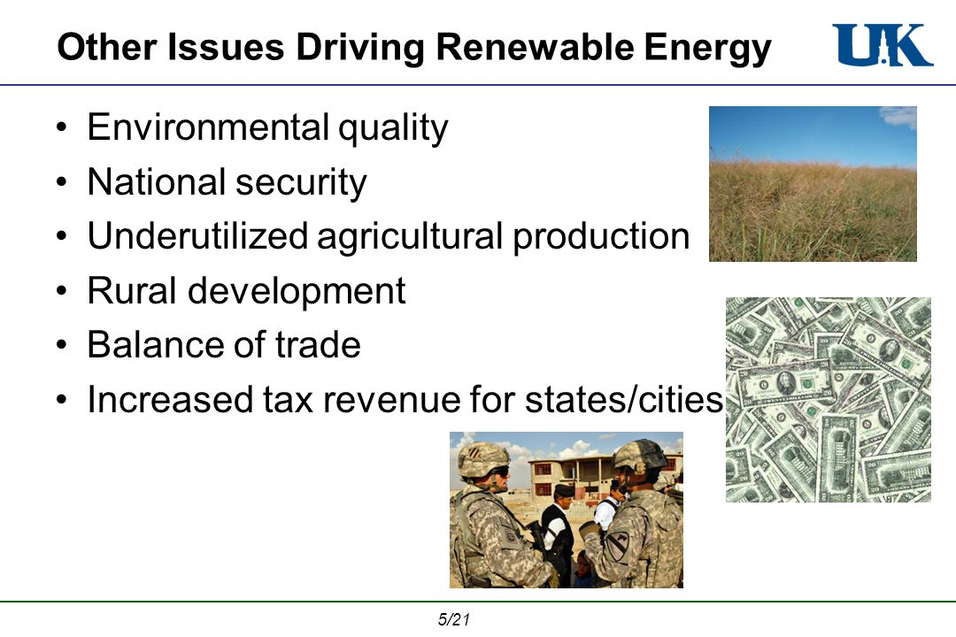5/21 Other Issues Driving Renewable Energy Environmental quality National security Underutilized agricultural production Rural development Balance of trade Increased tax revenue for states/cities