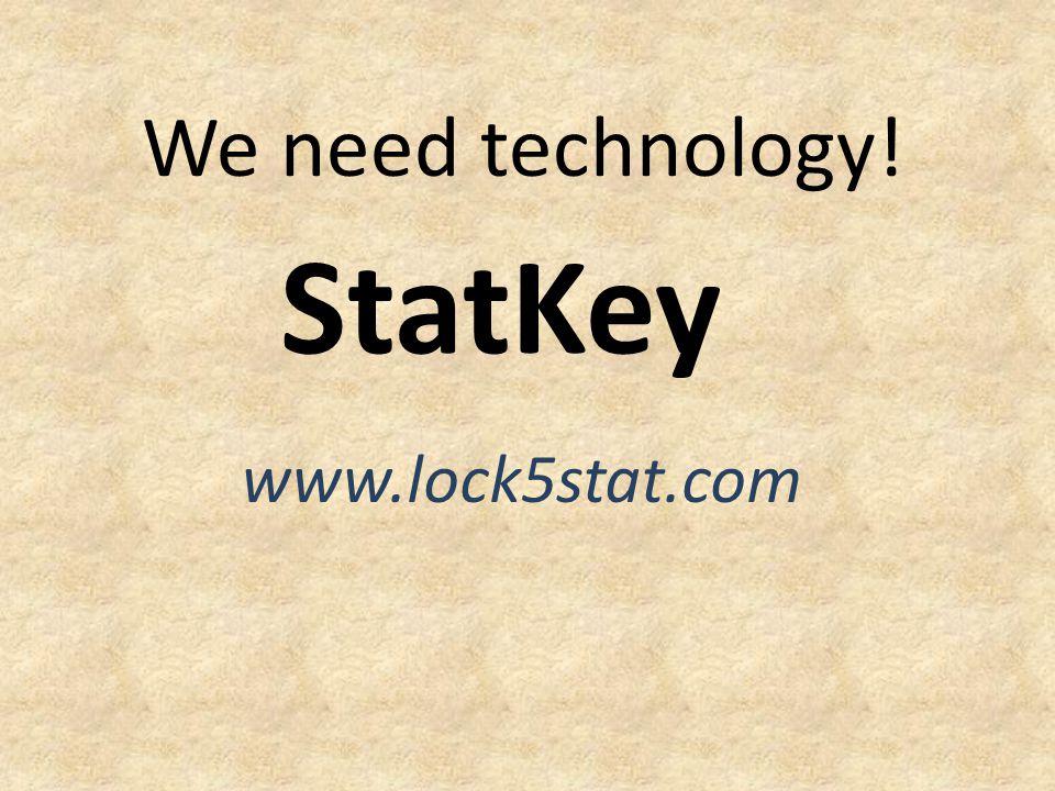 We need technology! StatKey www.lock5stat.com