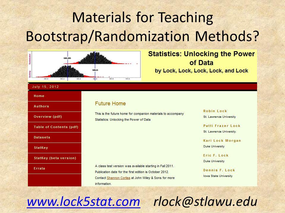Materials for Teaching Bootstrap/Randomization Methods.