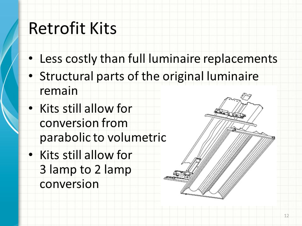 Less costly than full luminaire replacements Structural parts of the original luminaire remain Kits still allow for conversion from parabolic to volumetric Kits still allow for 3 lamp to 2 lamp conversion Retrofit Kits 12