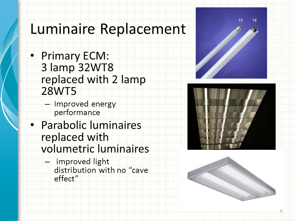 Luminaire Replacement Primary ECM: 3 lamp 32WT8 replaced with 2 lamp 28WT5 – Improved energy performance Parabolic luminaires replaced with volumetric luminaires – improved light distribution with no cave effect 6