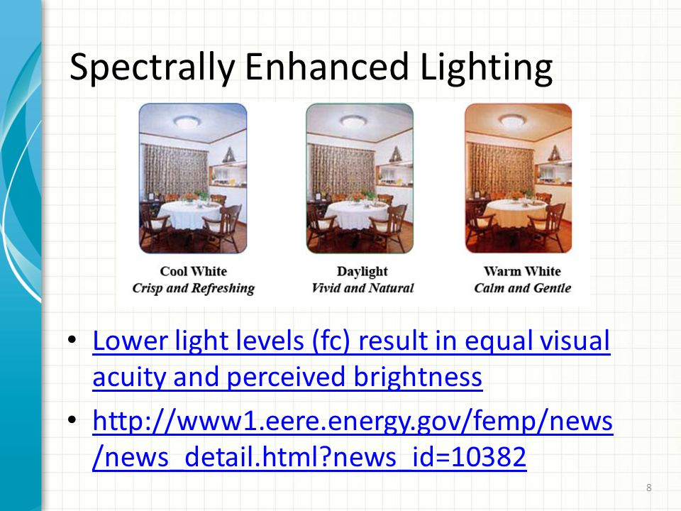 Spectrally Enhanced Lighting Lower light levels (fc) result in equal visual acuity and perceived brightness Lower light levels (fc) result in equal visual acuity and perceived brightness http://www1.eere.energy.gov/femp/news /news_detail.html news_id=10382 http://www1.eere.energy.gov/femp/news /news_detail.html news_id=10382 8