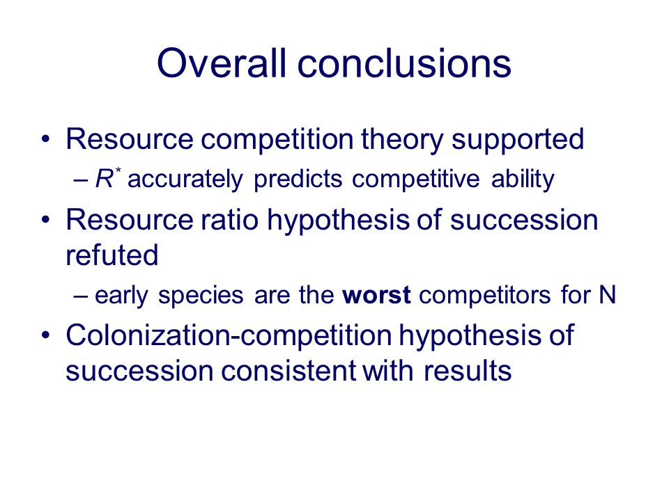 Overall conclusions Resource competition theory supported –R * accurately predicts competitive ability Resource ratio hypothesis of succession refuted