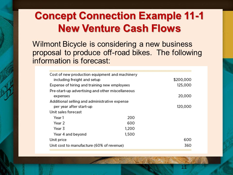 Concept Connection Example 11-1 New Venture Cash Flows 11 Wilmont Bicycle is considering a new business proposal to produce off-road bikes. The follow