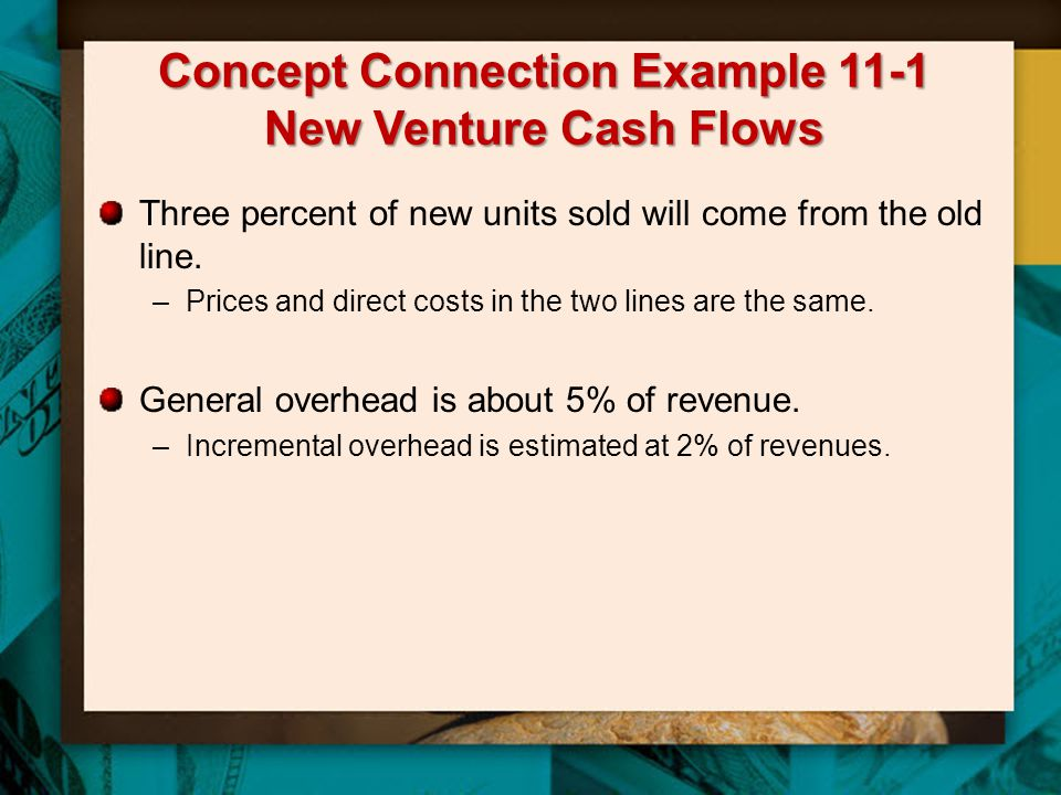 Concept Connection Example 11-1 New Venture Cash Flows Three percent of new units sold will come from the old line. –Prices and direct costs in the tw