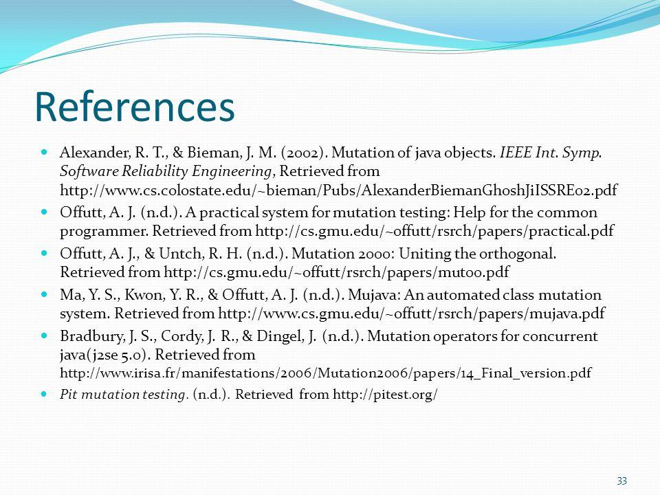 References Alexander, R. T., & Bieman, J. M. (2002).