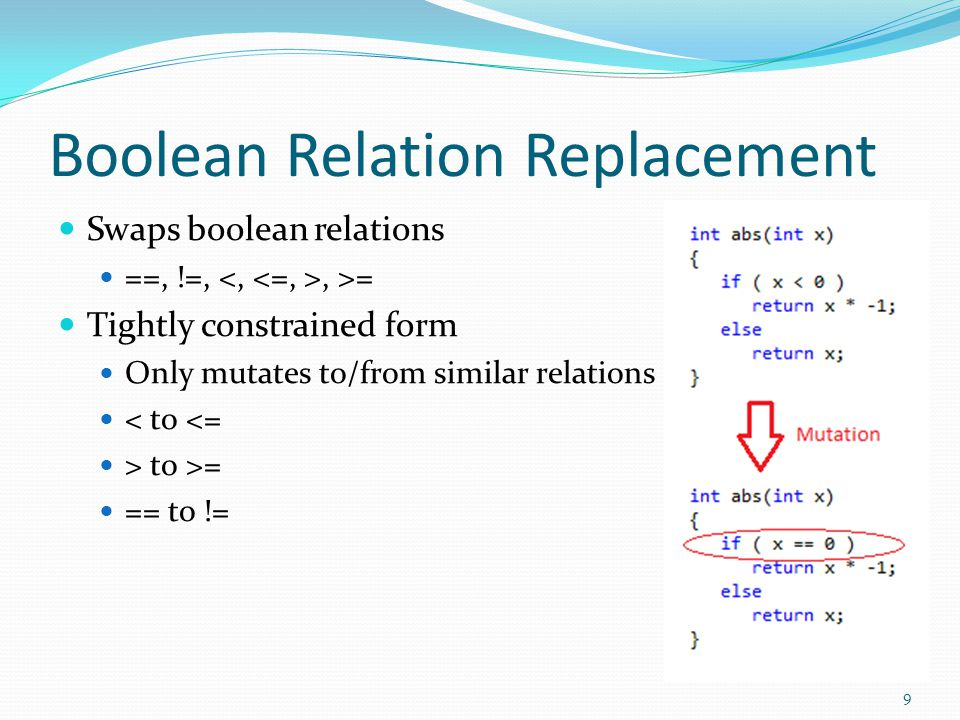 Boolean Expression Replacement Replaces an entire expression with true or false Unnecessary Code Code paths that arent sufficiently tested 10