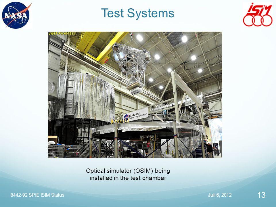 Test Systems Optical simulator (OSIM) being installed in the test chamber Juli 6, 2012 13 8442-92 SPIE ISIM Status