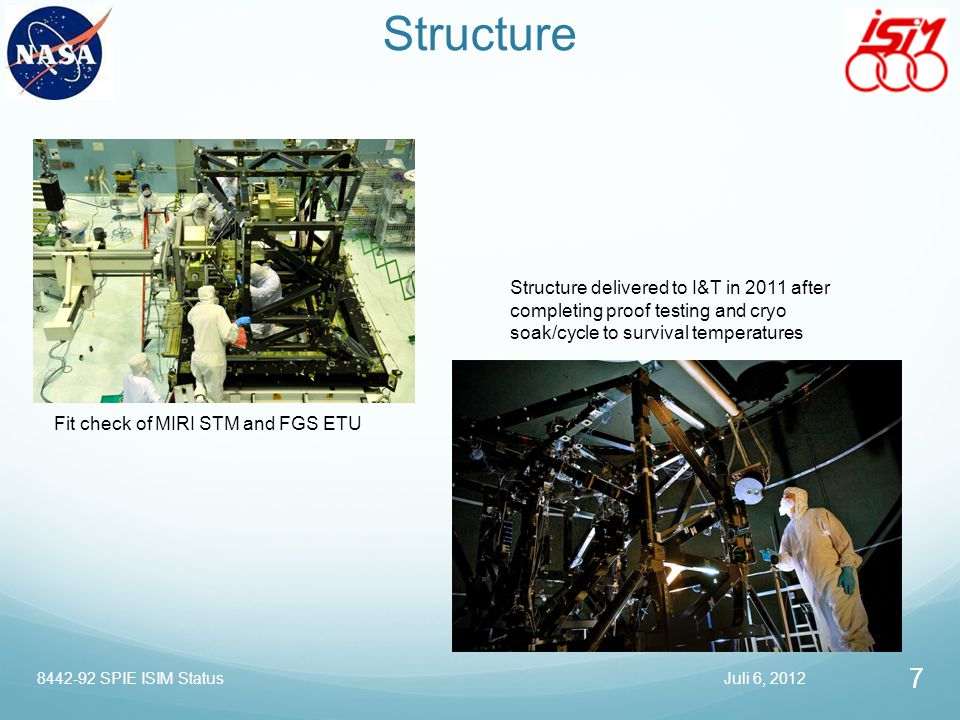 Structure Structure delivered to I&T in 2011 after completing proof testing and cryo soak/cycle to survival temperatures Fit check of MIRI STM and FGS