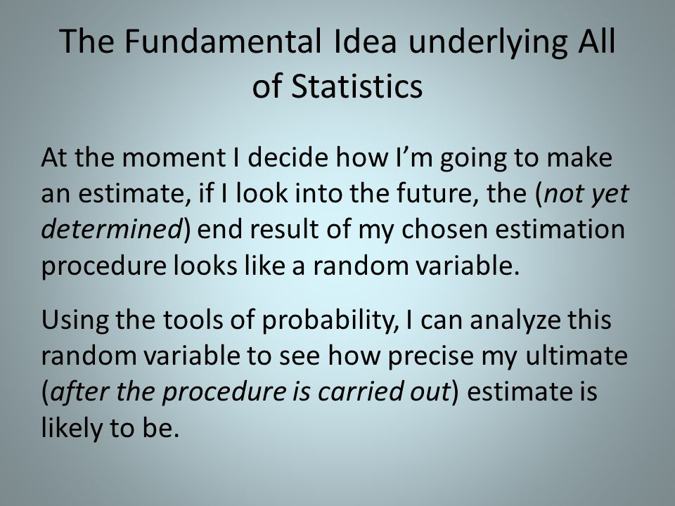 The Fundamental Idea underlying All of Statistics At the moment I decide how Im going to make an estimate, if I look into the future, the (not yet determined) end result of my chosen estimation procedure looks like a random variable.