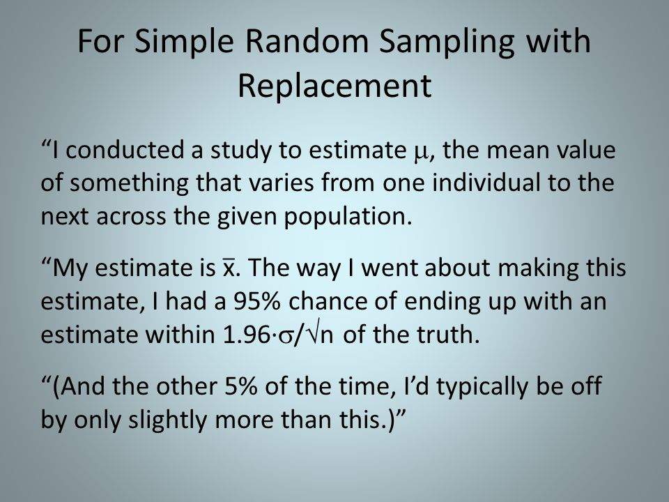 For Simple Random Sampling with Replacement