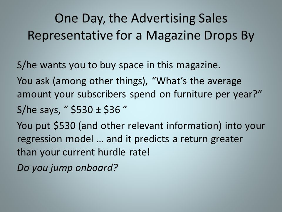 One Day, the Advertising Sales Representative for a Magazine Drops By S/he wants you to buy space in this magazine.