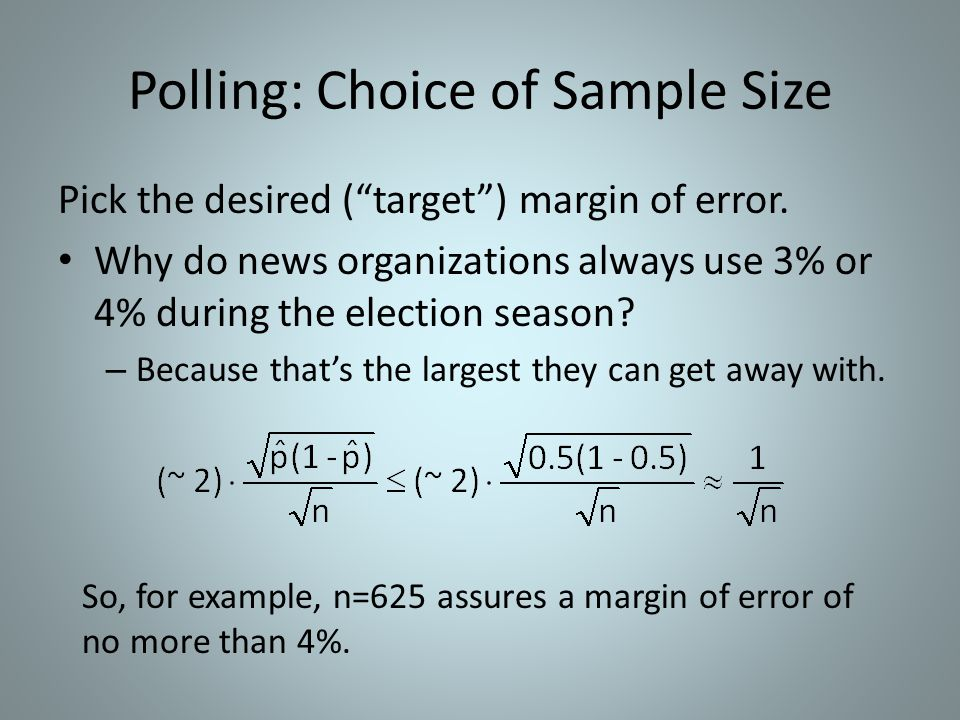 Polling: Choice of Sample Size Pick the desired (target) margin of error.