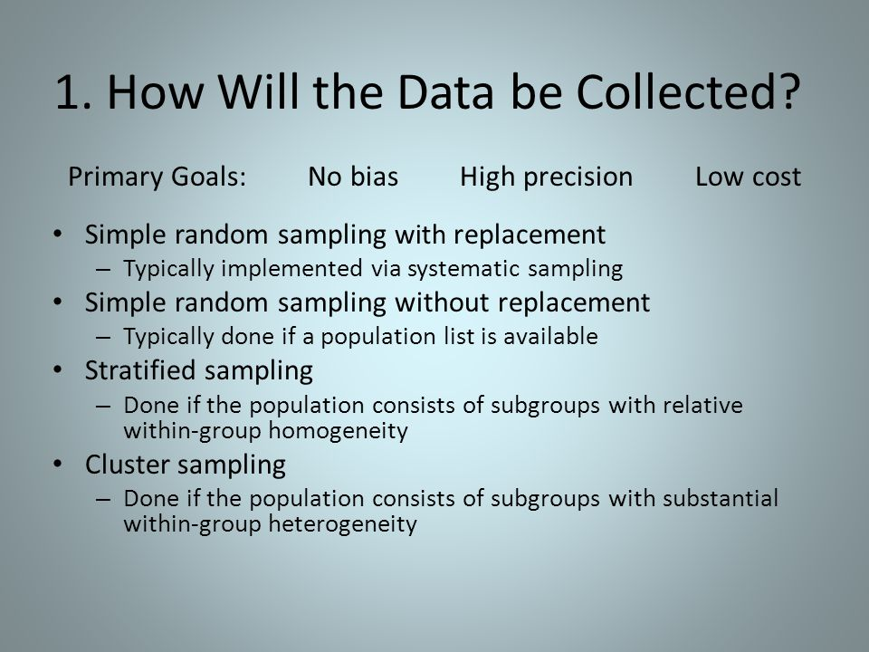 1. How Will the Data be Collected.