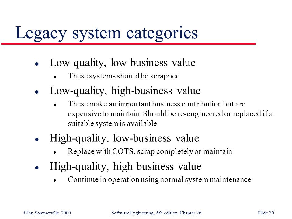 ©Ian Sommerville 2000 Software Engineering, 6th edition. Chapter 26Slide 30 Legacy system categories l Low quality, low business value l These systems