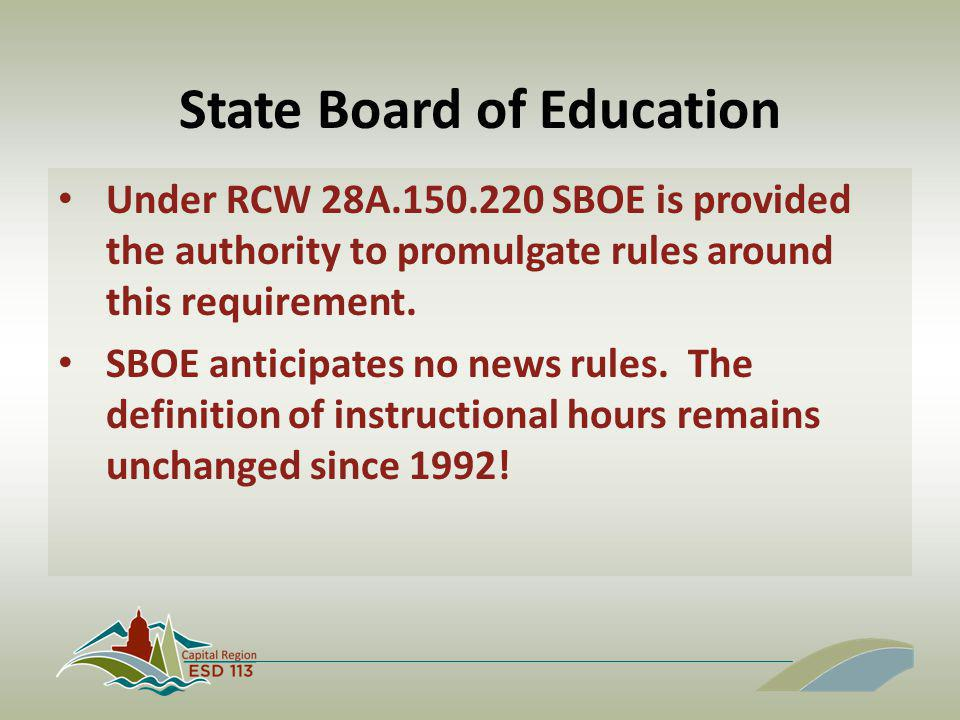 State Board of Education Under RCW 28A.150.220 SBOE is provided the authority to promulgate rules around this requirement. SBOE anticipates no news ru