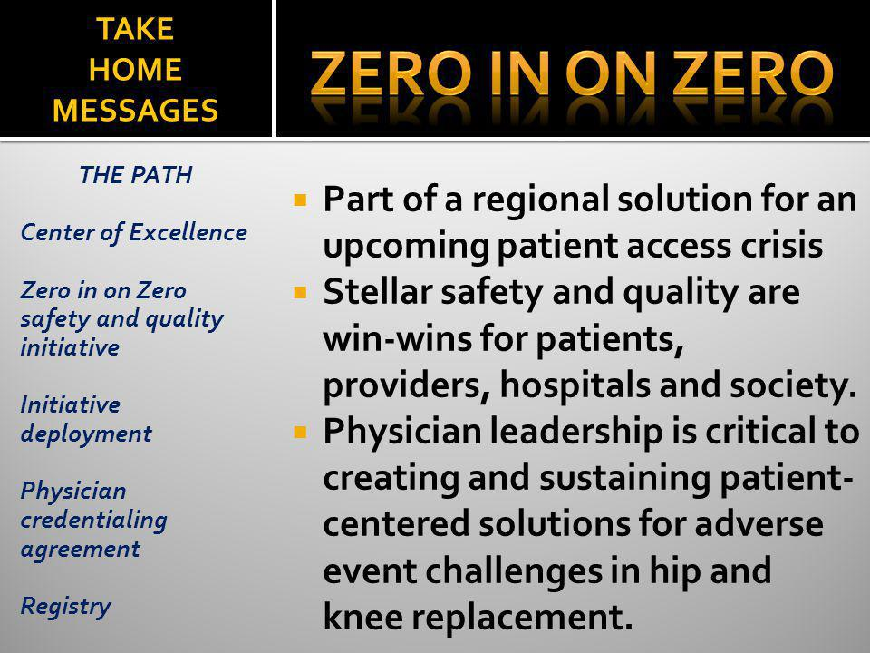 TAKE HOME MESSAGES Part of a regional solution for an upcoming patient access crisis Stellar safety and quality are win-wins for patients, providers,