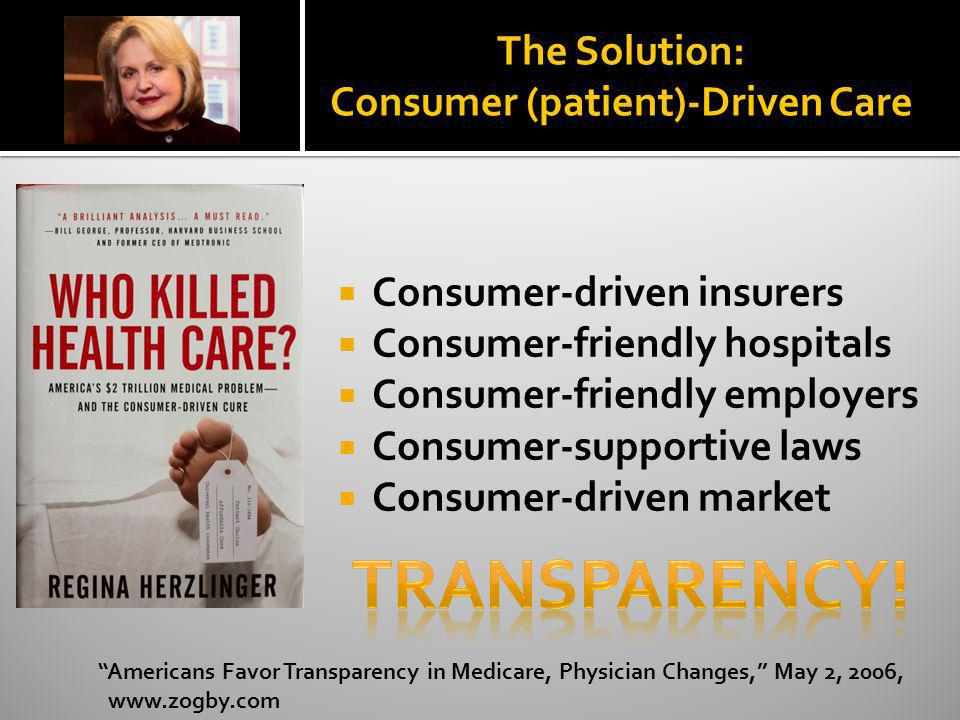 The Solution: Consumer (patient)-Driven Care Consumer-driven insurers Consumer-friendly hospitals Consumer-friendly employers Consumer-supportive laws
