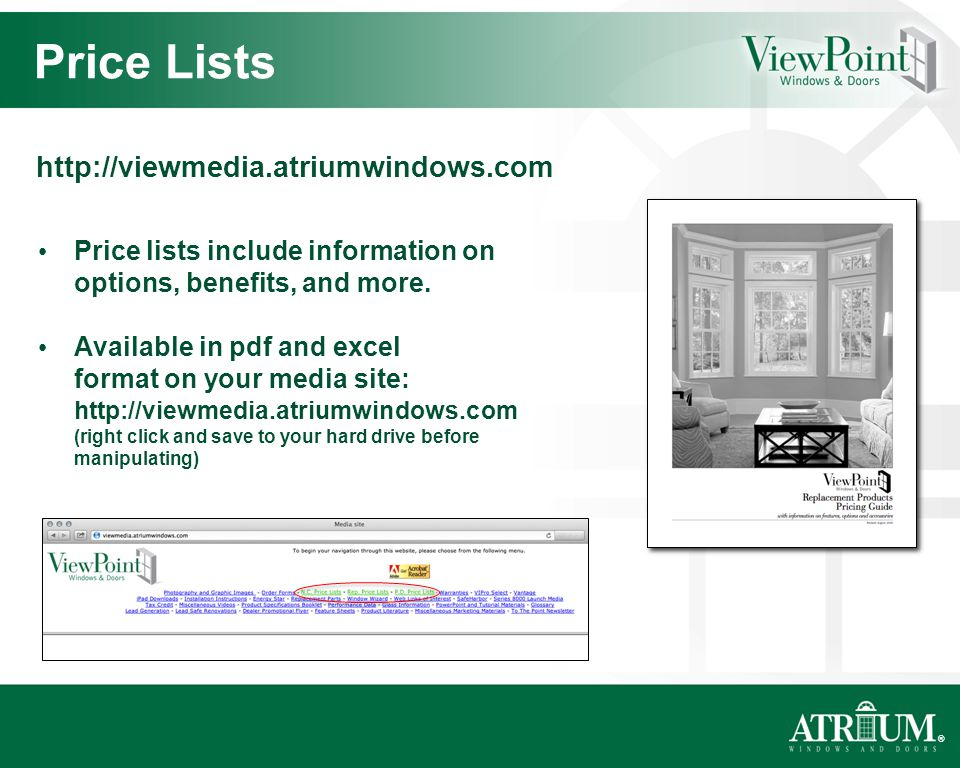 ® Price lists include information on options, benefits, and more.