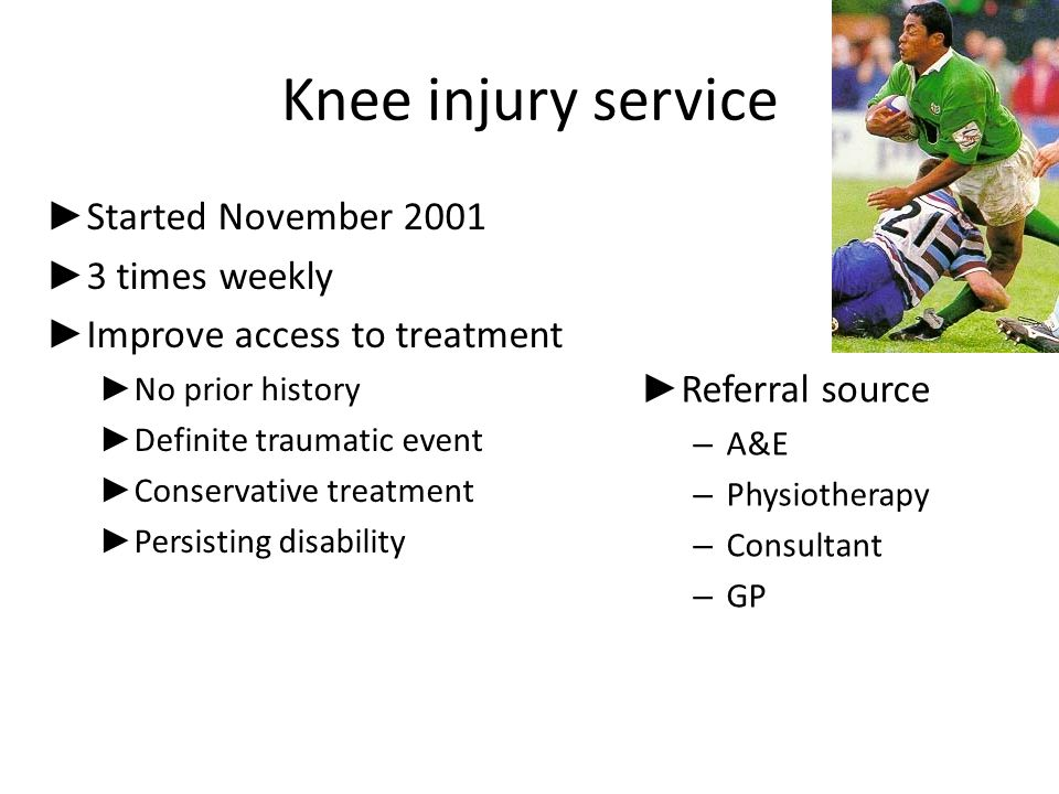 Acute knee injury *117 patients – 9.8% diagnosed by presenting physician – 1 month: 32 cases diagnosed – Average time to diagnosis = 21 month – 30% missed by ortho surgeon *Bollen, Scott Injury 1996: 27: 407-9