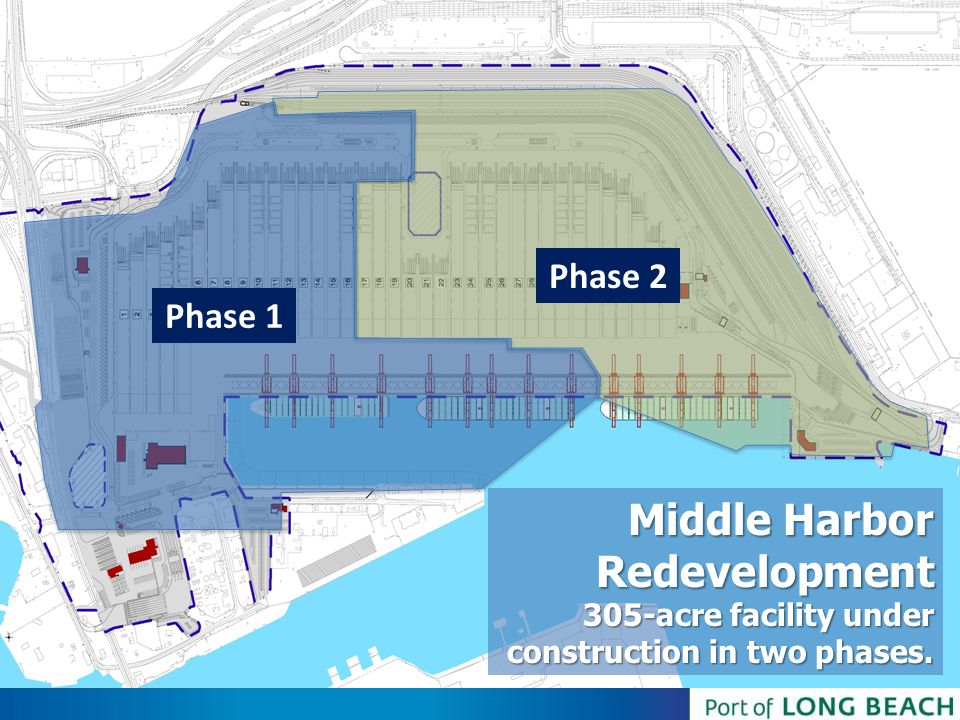 Phase 2 Phase 1 Middle Harbor Redevelopment 305-acre facility under construction in two phases.