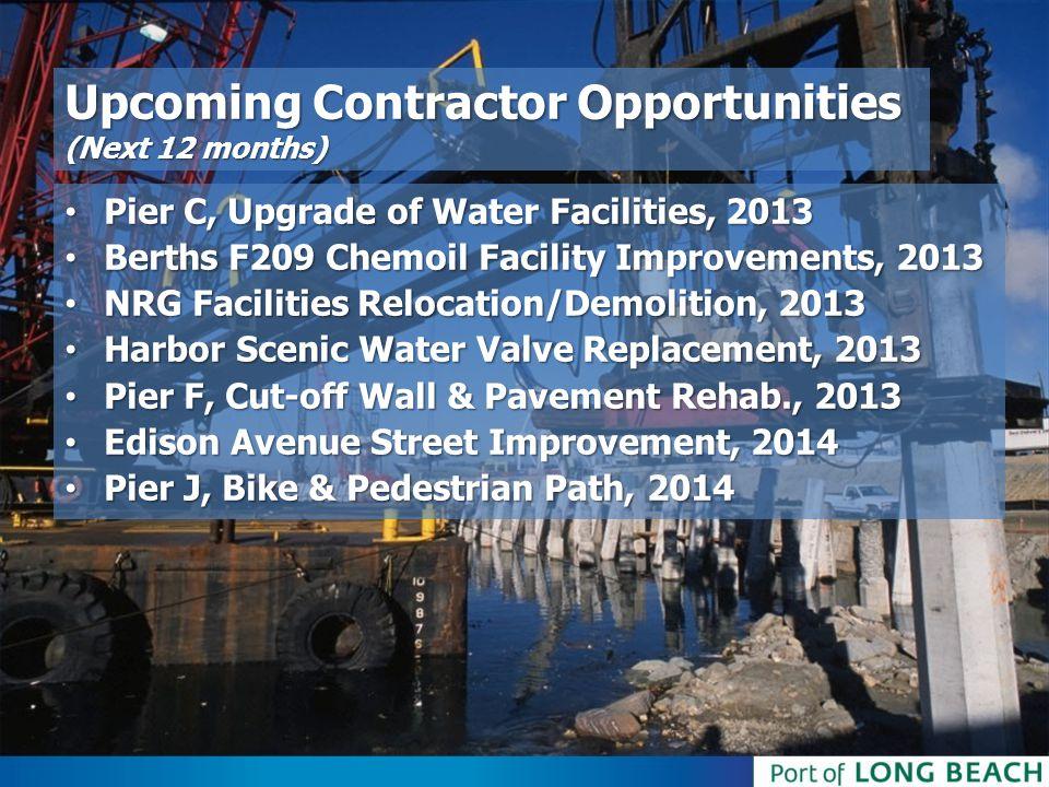 Upcoming Contractor Opportunities (Next 12 months) Pier C, Upgrade of Water Facilities, 2013 Pier C, Upgrade of Water Facilities, 2013 Berths F209 Che
