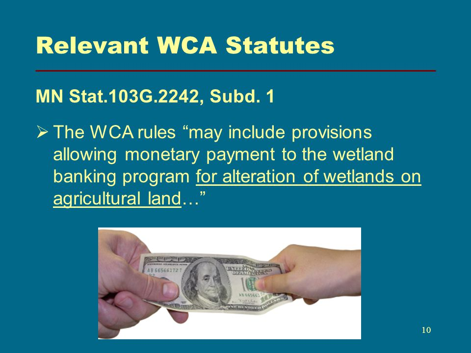 Relevant WCA Statutes MN Stat.103G.2242, Subd.