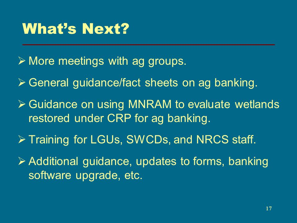 Whats Next. More meetings with ag groups. General guidance/fact sheets on ag banking.